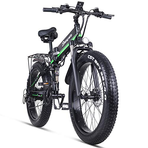 Skyzzie Bicicletas eléctricas Bicicleta de Eléctrica Montaña Plegables 26' 48V 1000W E-Bike/Bici de Ciudad/Excursión/Bicicleta de Paseo,Adulto Unisex,Shimano 21-Velocidades
