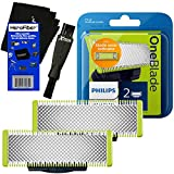 Philips Norelco OneBlade Replaceable Blades (2 Pack) for OneBlade QP2520, QP2530, QP2630, Pro QP6510, QP6520 Electric Trimmers + Double Ended Shaver Brush + HeroFiber Ultra Gentle Cleaning Cloth