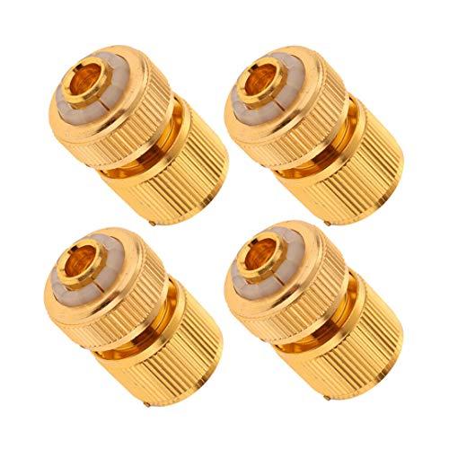 Tuinslang Snelkoppeling Volledig koper Slangreparatie 1/2 inch Tuinslang Quick Connect Waterpas Slangadapter,4pcs