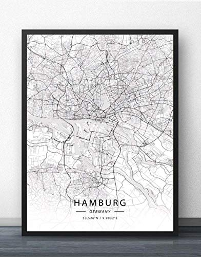 Leinwand Bild,Deutschland Hamburg Stadtplan Einfache Wandkunst Schwarz Weiß Poster Pop Minimalistische Malerei Modular Living Office Personalisierte Kultur Tinte Raumdekoration, 70 Cm X 100 Cm / 27,