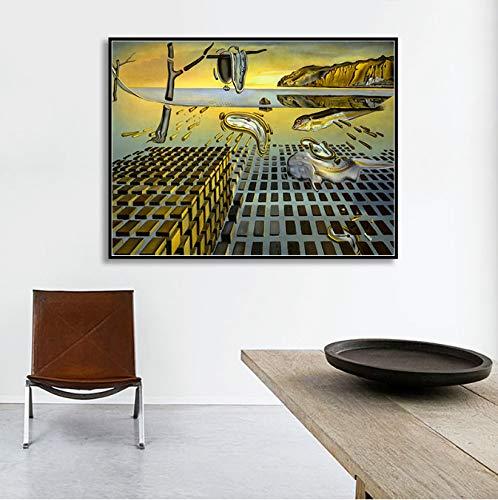 QIANLIYAN Cartel de Pintura de Lienzo, la desintegración de la persistencia de la Memoria por Salvador Dali Wall Pictures Home Decor 50 * 70 cm sin Marco