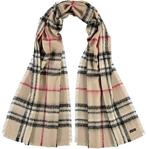 FRAAS Karierte Damen-Stola aus Cashmink - Made in Germany - Eleganter Karo-Schal - Hochwertiger Schal Kariert - Stilvolles The Plaid Beige