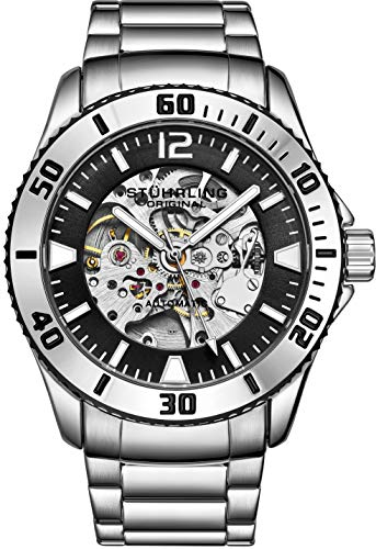 Stuhrling Original Mens Automatic Watch - Dive Watch with Stainless Steel Bracelet Mechanical Watches - Water Resistant Wrist Watch up to 165FT Self Winding Mens Silver Regatta Antilles Sports Watch