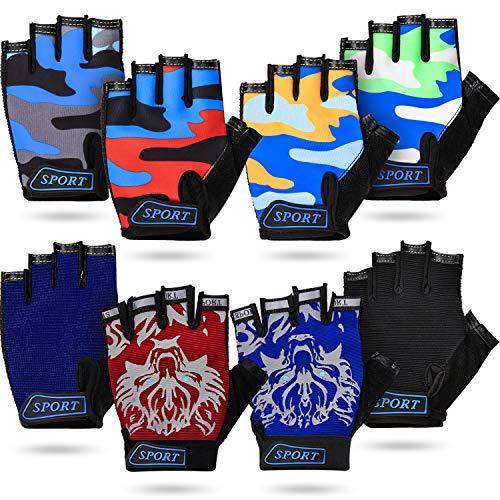 Sumind 8 Paar Kinder Halbfinger Handschuhe Fingerlose Fahrradhandschuhe Atmungsaktive Kinder Kurz Fingerhandschuhe rutschfeste Outdoor Sporthandschuhe für Kinder Radfahren Klettern Reiten, 8 Farben