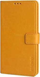 CASE BOX Faux Leather Flip Wallet with Card Slot Case for Xiaomi Poco M2 Pro(Yellow)
