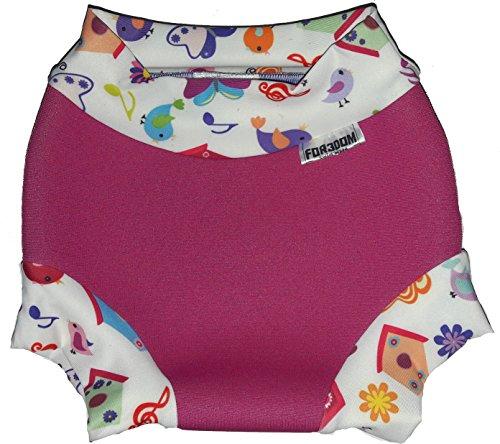 Baby Schwimmwindel Swim Nappy Neopren (Pink-Birdie, XL - 13-16 kg)