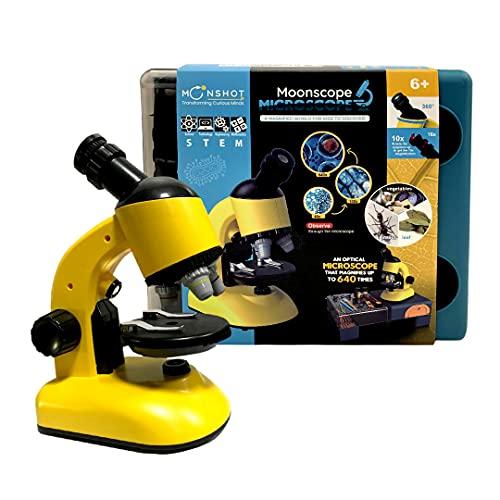 Moonshotjr Moonscope - Optical Microscope for Kids, 40X 100X 640X High Magnification, Beginner Microscope, STEM Kit | Rotating Head, Desk Box, Mobile Holder– Kit for Scientific Experiment (Yellow)
