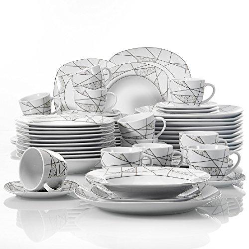 VEWEET Serena 60pcs Service de Table Porcelaine 12pcs Assiette Plate, Assiette à Dessert, Assiette Creuse, Tasse avec Soucoupes pour 12 Personnes Vaisselles Céramique Cadeau Fête Mariage Maison
