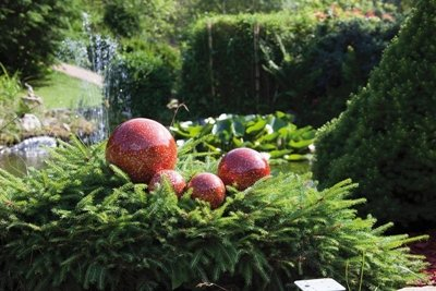 Gartenkugeln Edelstahl mit rot marmoriertem Finish, 4er Set, (2 x Ø 10 cm, 1 x Ø 15 cm, 1 x Ø 20 cm) wetterbeständig 10/15/20cm NEU Gartendeko Rosenkugel