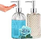 Footsihome Dispensador de jabón de cristal, 2 dispensadores de jabón...