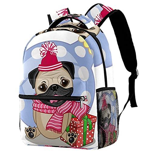 KeepCart Mochila Portátiles Mochila escolar Senderismo Aprender Alta capacidad y al aire libre perro pug en un sombrero con regalo para estudiantes hombres y mujeres