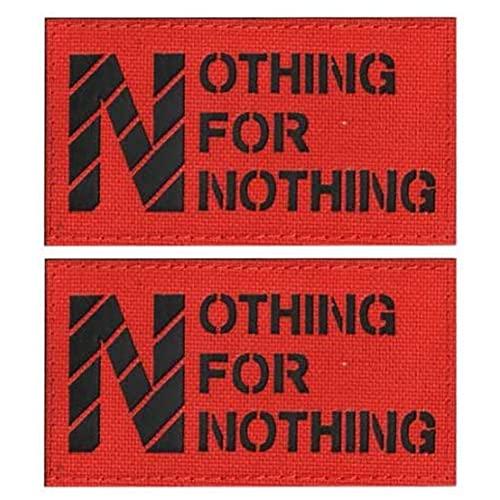 Toppa riflettente IR con scritta 'No Free Lunch Nothing for Nothing', a raggi infrarossi, ricamati, adesivi tattici per vestiti con gancio e anello, accessorio per zaino da braccio (rosso)