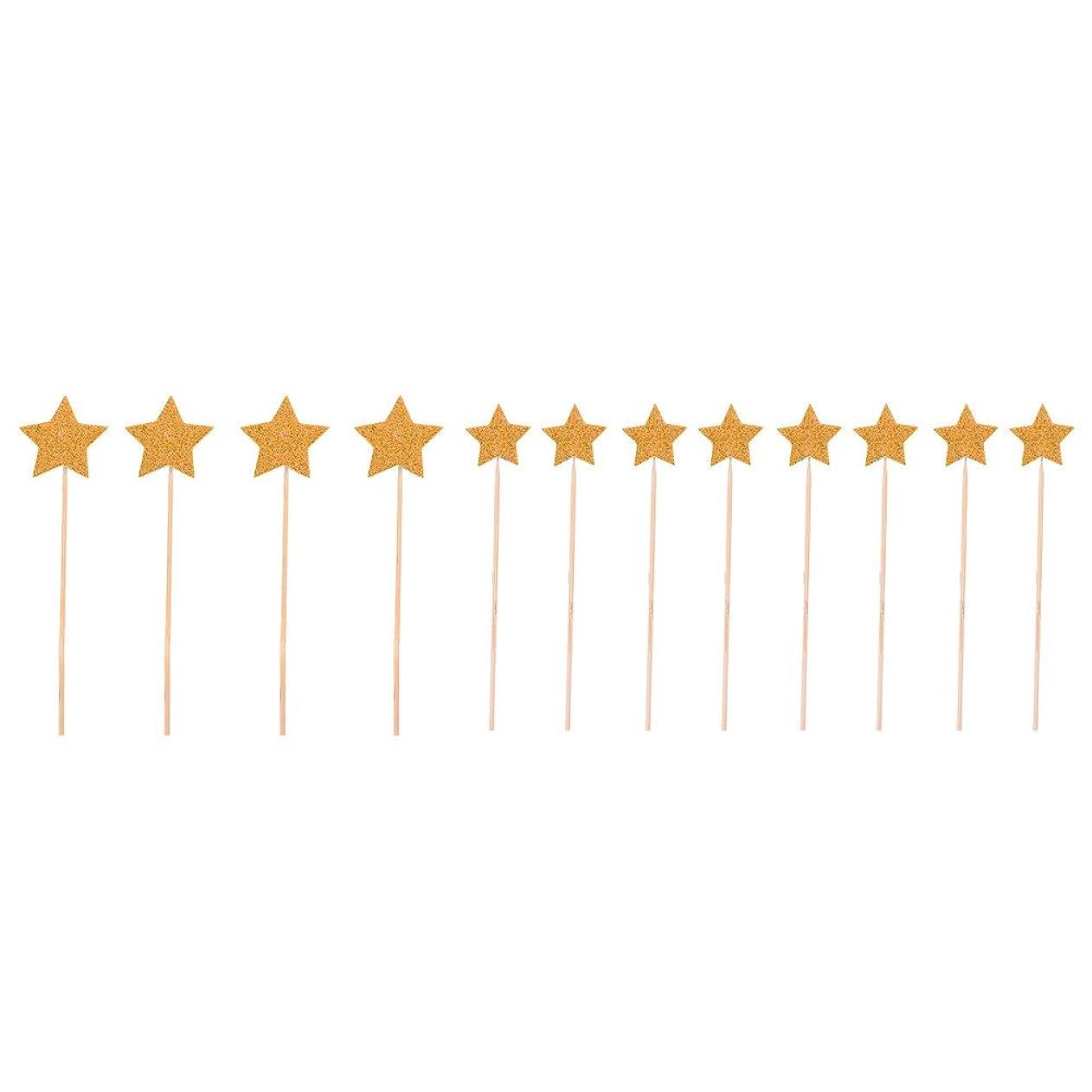 クロス女の子良心的SUND ケーキトッパー キラキラ 星型 12本セット EVA製品 ケーキ用飾り プレ花嫁 席札 結婚式 誕生日 選べる4色 ゴールド