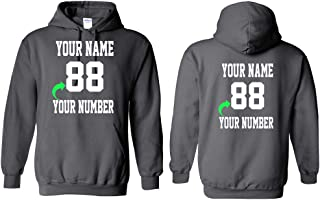 Personalized Hoodie with Custom Name and Number Unique Stylish Team Sports Gift Military Green Adult-Large