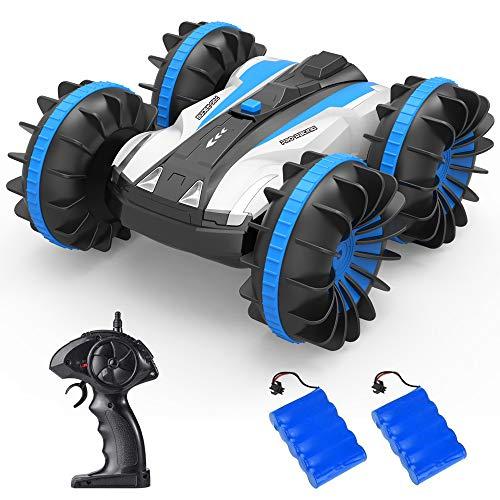 ラジコンカー リモコンカー 水陸両用スタントカー 4WD RCカー 2.4Ghz無線操作 6CH 高速 四輪駆動 360度回転 両面走行特技 USB充電式 耐衝撃 子供向け 車おもちゃ 贈り物 (ブルー)