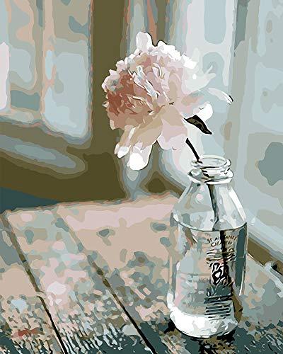 WONZOM Pintura por Números para Adultos, DIY Pintura al óleo sobre Lienzo Pintar por Numeros para Adultos Principiantes - Flor en la Botella 16 * 20 Pulgadas (Sin Marco)