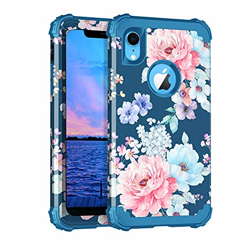 Rancase for iPhone XR Case,Three Layer Heavy Duty Shockproof Protection Hard Plastic Bumper +Soft Silicone Rubber Protective Case for Apple iPhone XR 6.1 inch,Flower