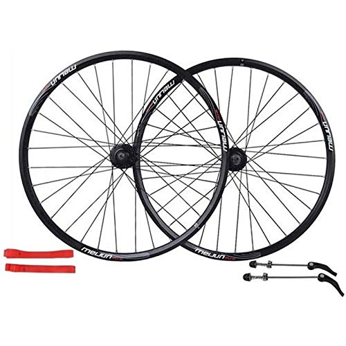 Bicycle Wheelset 26 Inch, Double-walled Aluminum Alloy Bicycle Wheels Disc Brake Mountain Bike Wheel Set Quick Release American Valve 7/8/9/10 Speed (Color : Black)