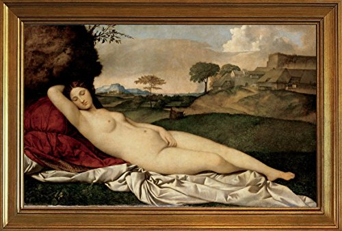 Berkin Arts Framed Giorgione Giclee Canvas Print Paintings Poster Reproduction(Sleeping Venus)