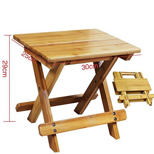 LJHA Tabouret pliable Repose-pieds en bois massif créatif en bambou/petit banc enfant/pliable/portable/chaise de pêche en plein air/tabouret carré adulte chaise patchwork (taille : 30cm)