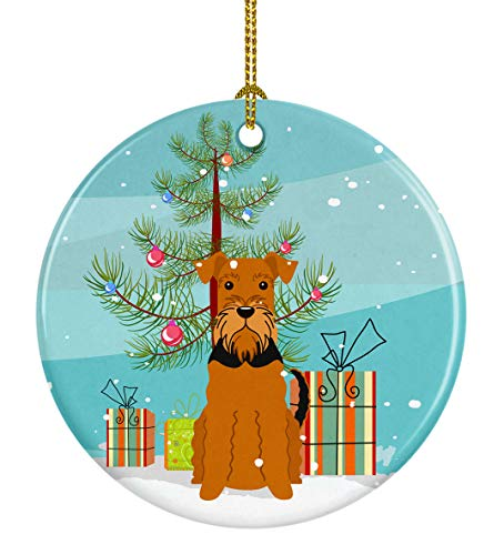 Caroline's Treasures Merry Christmas Tree Airedale Ceramic Ornament