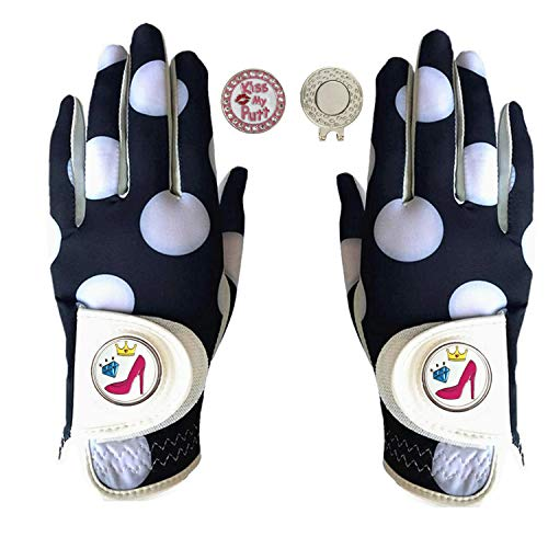 FINGER TEN Golf Gloves Women Left Hand Right Leather with Ball Marker Hat Clip Value Pack, Womens Ladies Fashion All Weather Grip, Fit Size Small Medium Large (Mod Dot, S-1 Pair)