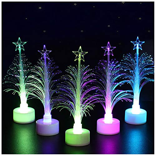 ZXMDP Colorful Fiber Optic Christmas Tree,LED Christmas Tree Light 7 Colors USB Fiber Optic Star Night Lamp Light Up Your Life-Xmas Decoration 5.9' Tall