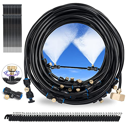 Hourleey Misting Cooling System, Outdoor Mister System with 50 Feet Misting Tube, 20 Brass Mist Nozzles and 3/4' Brass Adapter for Garden Patio Greenhouse and Trampoline