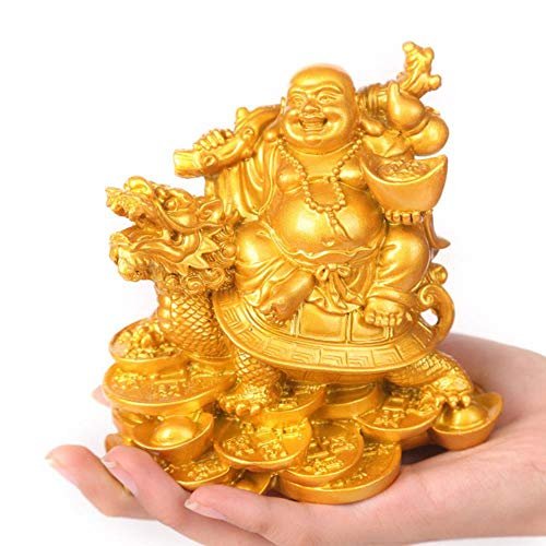 Lachende Boeddhasculptuur moderne kunst Hars Boeddha rijden draak schildpad standbeeld woonaccessoires rijkdom Boeddhabeeld, 1, S