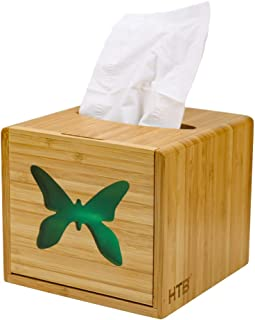 Bamboo Facial Tissue Box Cover Holder for Bathroom Vanity Countertops, Bedroom Dressers,Night Stands,Desks and Tables