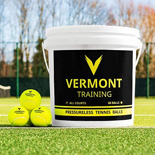 Vermont Tennisbälle | Training Tennisbälle - ITF-genehmogte Tennisbälle - alle Spielplatzoberfläche (Training Bälle, 60 Bälle Eimer)