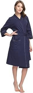 Womens Cotton Robe Soft Kimono Spa Knit Bathrobe Lightweight Long
