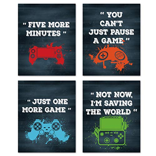 """Funny Video Game Art Prints,Inspirational Gaming Quotes Art Posters,Watercolor Gamepad Canvas Pictures,Gamer Wall Art for Teen Boy Bedroom Kid Playroom Home Decor(Set of 4,8""""x10"""",Unframed)"""