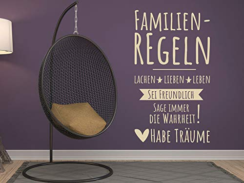 GRAZDesign Wandtattoo Sprüche Zitate Familienregeln - Wandaufkleber Familientattoo - Wandtattoo Lustiges Motiv / 53x30cm / 070 schwarz