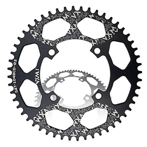 YUDIYUDI Dauerhafte Funktions Bike Kurbeln, BCD 96MM Kettenblatt MTB Bike Schmale Breite Runde Oval Single Chain Ring Schmale Breite Kettenblatt Getriebe for Rennrad MTB (Size : Round 52T)