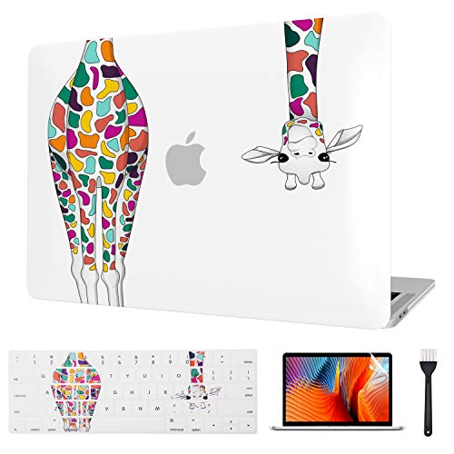 MacBook Pro 13 Inch Case 2020, Cute Laptop Case & Keyboard Cover & Screen Protector ONLY for Mac Pro 13 Model (M1 A2338/A2289/A2251) Release 2020 with Touch Bar & Touch ID Version (Colorful Giraffe)