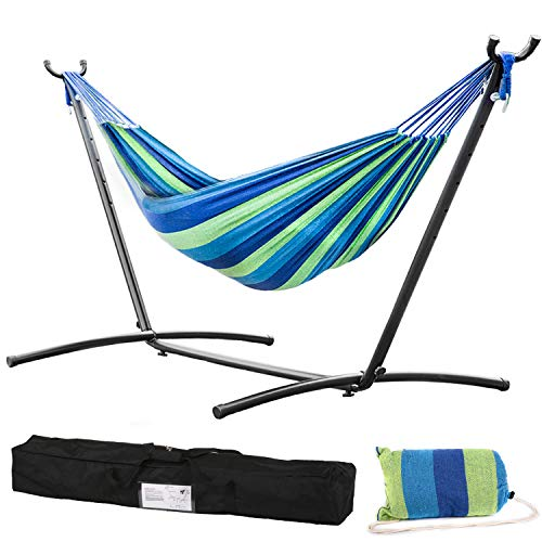 Vnewone Stand 2 Person Heavy Duty 9 FT Space Saving Steel Portable Carrying Case Weather-Resistant Finish for Patio Backyard Garden, Blue Hammock