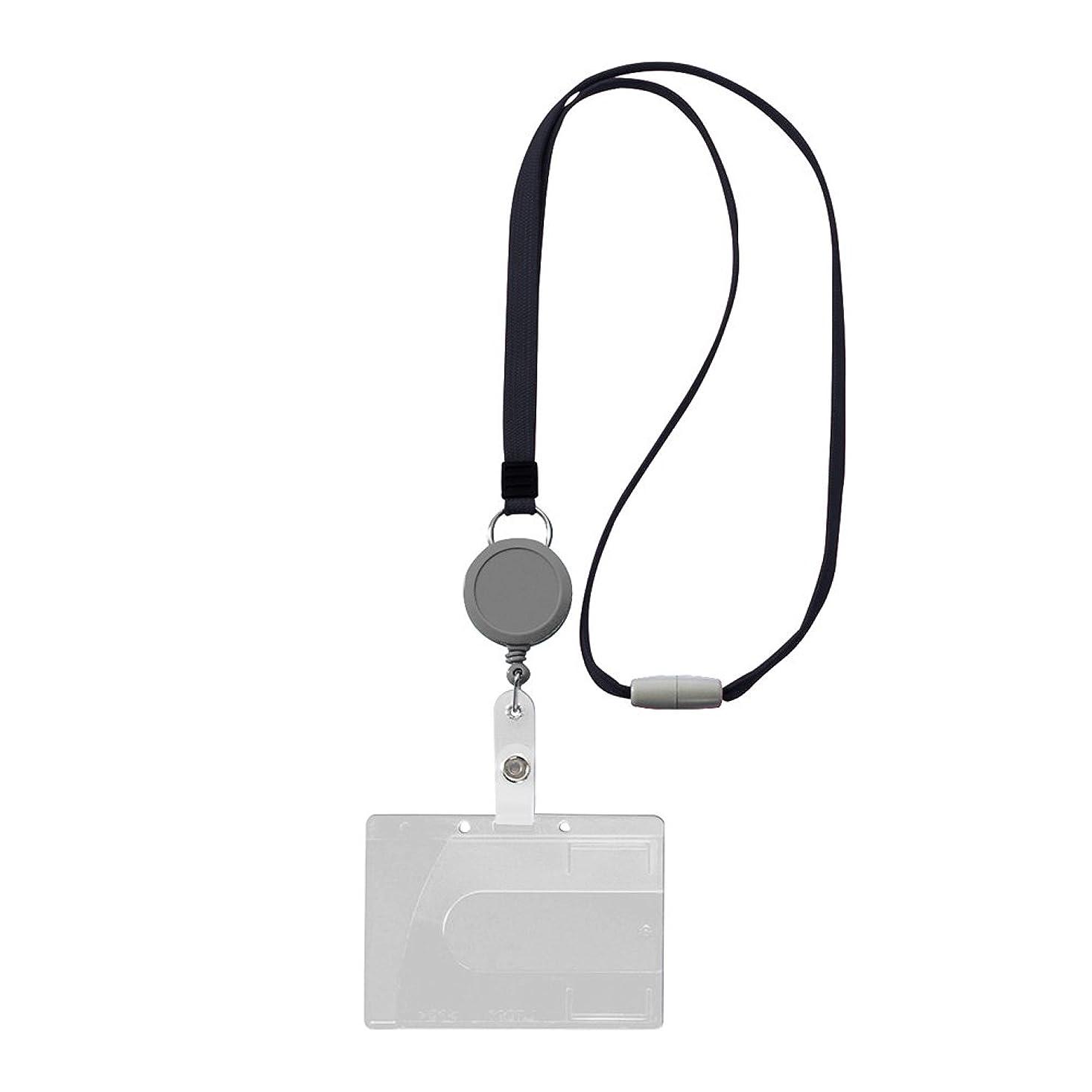 静かに静かにベストライオン事務器 名札 つりさげIDカード用 ハード リール付 N-200SR-BK ブラック