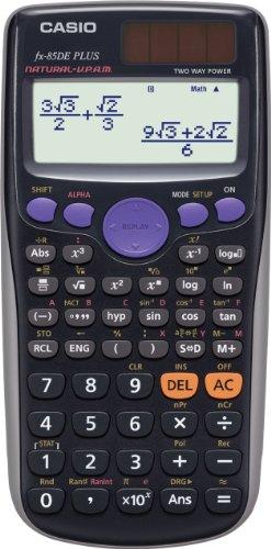 Casio FX-85DE Plus - Calculadora científica (1.11 x 8 x 16.2 cm, con panel solar y batería), color negro