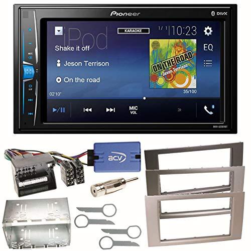 Pioneer MVH-A200VBT USB Bluetooth MP3 WMA Autoradio 2-DIN Moniceiver Einbauset für Ford Focus C-Max Fiesta Transit, Farbe der Radioblende:Silber