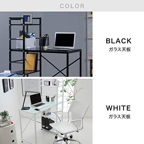 【5%OFF価格!9/1200:00~9/1323:59】LOWYAデスクパソコンデスク収納ラック付左右対応角丸天板幅90cmガラス天板ホワイト新生活
