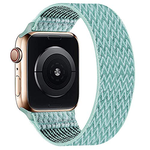 OHCBOOGIE Elastic Nylon Solo Loop Strap Compatible with Apple Watch Bands 42mm 44mm,Stretchy Braided with No Clasps/Buckles Sport Women Men Replacement Wristband for iWatch Series 6/SE/5/4/3/2/1