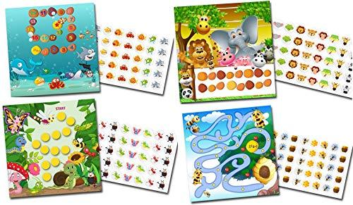 Belohnung für Kinder mit 4 x Belohnungssystem TIERE/bunte Aufkleber in Papiervorlage kleben
