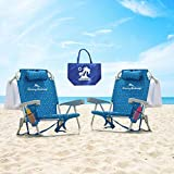 2 Tommy Bahama Backpack Beach Chairs 2016/ Light Blue + 1 Medium Tote Bag