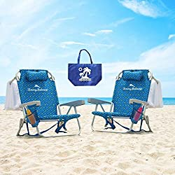 2 Tommy Bahama 2016 Backpack Cooler Chairs with Storage Pouch and Towel Bar