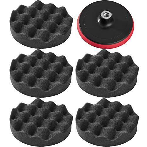 TecTake 5 éponges de polissage 150mm + disque de rotation pour machine à polir