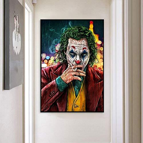wZUN Star del Cinema Clown Pittura a Olio su Tela Comico Pagliaccio Poster e Stampe Decorazione murale Pittura Soggiorno Decorazione Pittura Parete 60x90 Senza Cornice