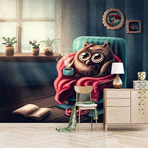 XXSHN Dsromhgqi 3D Poster Wall Mural Wallpaper 450 x 300 cm Cartoon Cute Animal Owl Modern Art Print 3D HD Picture Self-Adhesive Wallpaper Background Interior Decoration