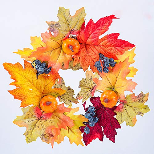 SUNGFINE Artificial Wreath Flower Garlands with Pumpkin and Blueberry for Front Door Indoor or Outdoor Wall Wedding Home Decoration (Blueberry and Pumpkin, 8.26'×11.8')