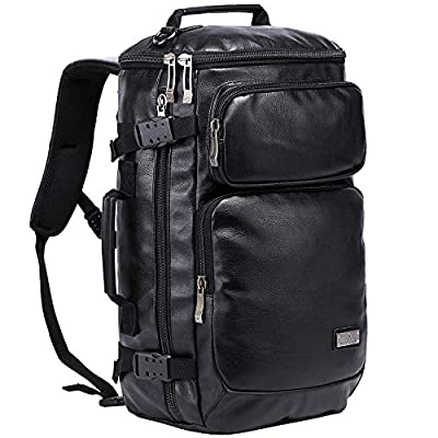WITMAN Travel Rucksack Outdoor Hiking Backpack Large Duffel Bag (B902 PU Leather Black)